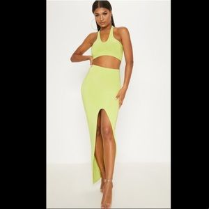 Crop top and front silt skirt